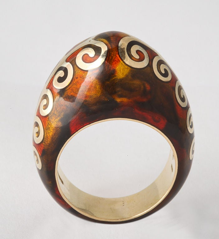 FIDIA GIOIELLI Tortoise Enamel Gold Dome Ring For Sale 2