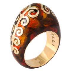 FIDIA GIOIELLI Tortoise Enamel Gold Dome Ring