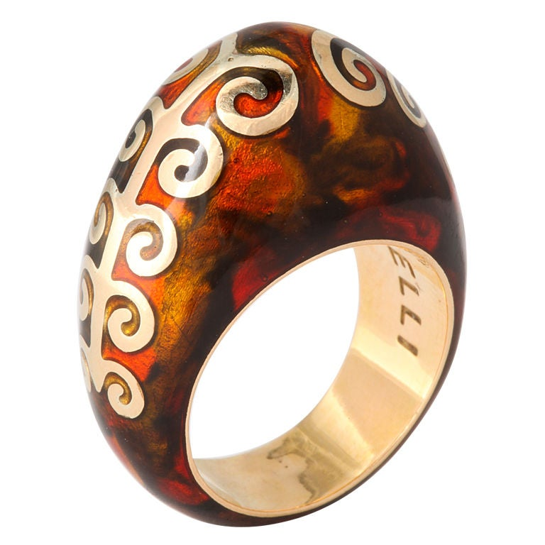 FIDIA GIOIELLI Tortoise Enamel Gold Dome Ring For Sale