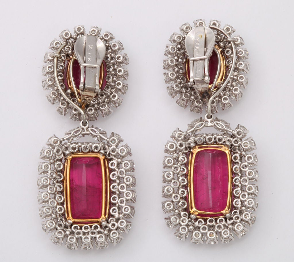 Spectacular DAVID WEBB Platinum Rubelite Diamond Earrings 2