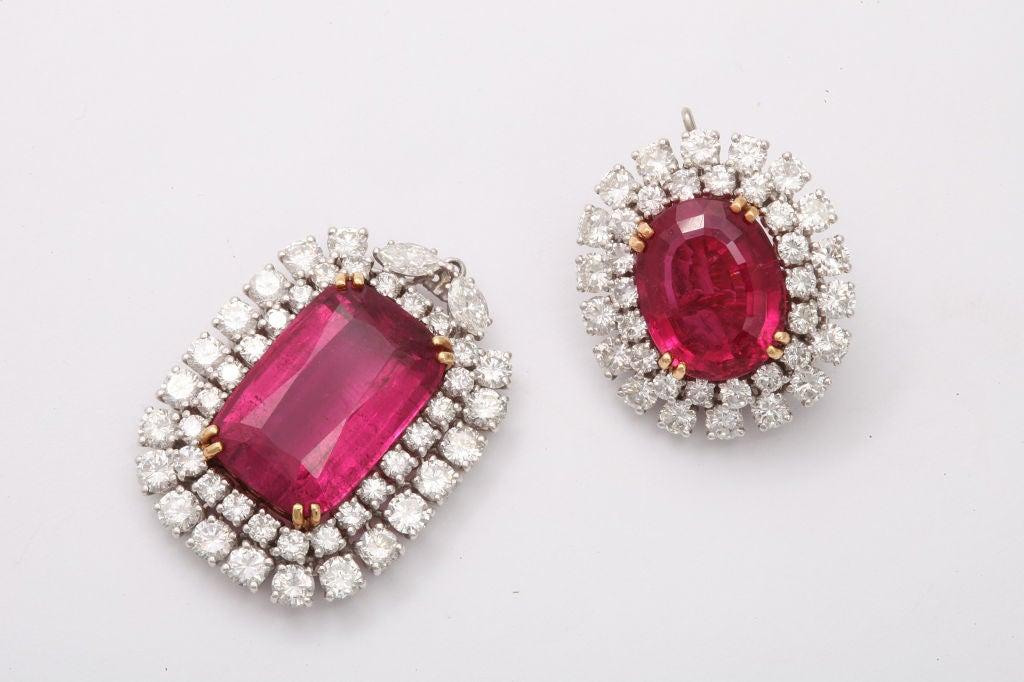 Spectacular DAVID WEBB Platinum Rubelite Diamond Earrings 3
