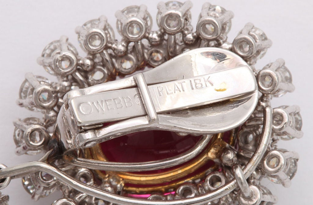 Spectacular DAVID WEBB Platinum Rubelite Diamond Earrings 4