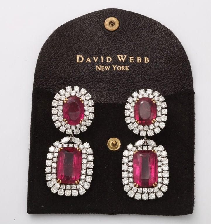 Spectacular DAVID WEBB Platinum Rubelite Diamond Earrings 5