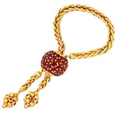 M. ABATE Braided Gold Garnet Ball Slide Bracelet