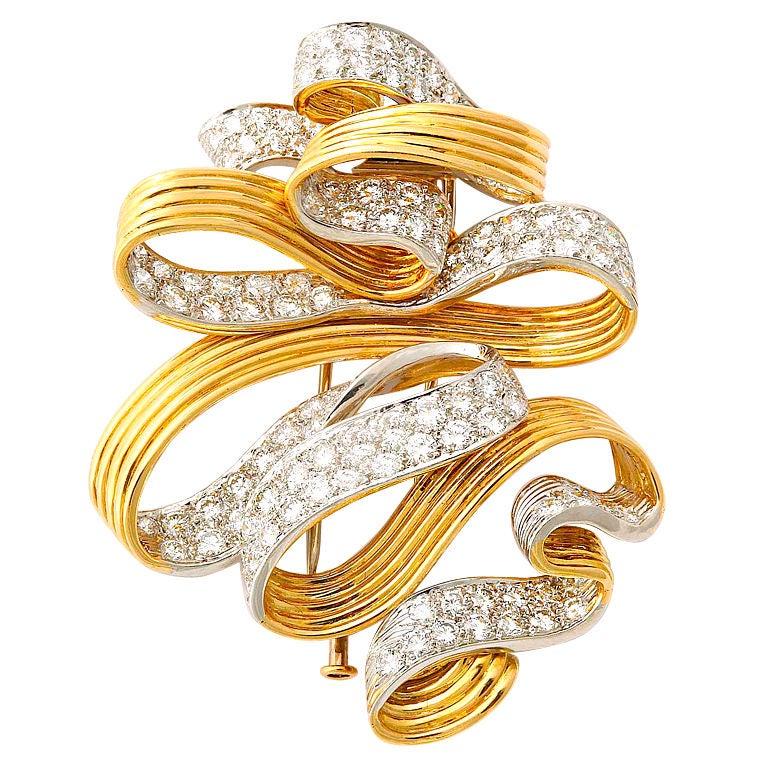 DAVID WEBB Diamond Gold Ribbon Brooch
