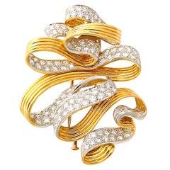 David Webb Diamond Gold Swirling Ribbon Brooch