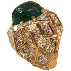 1960's Large Honeycomb Design Emerald  Diamond Ring