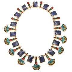 Egyptian Revival  Enameled Gold and Lapis Necklace