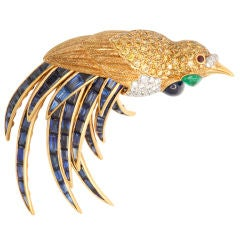 Fred Leighton Multi Gem Bird of Paradise Brooch With Articulated Tail Feathers