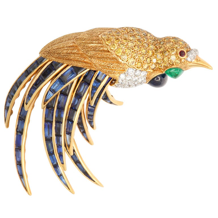 Fred Leighton Multi Gem Bird of Paradise Brooch with Articulated Tail Feathers For Sale