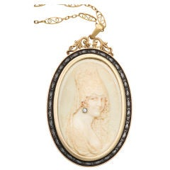 Ivory Portrait Pendant with Gold Frame and Chain