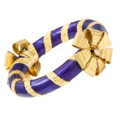 TIFFANY & CO.  Gold and Enamel Ribbon Bracelet