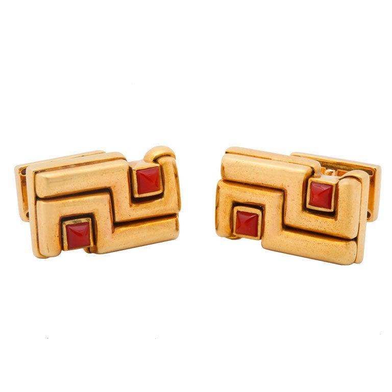 CARTIER - ALDO CIPULLO Gold and Carnelian Cuff Links