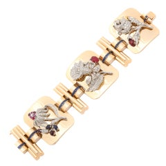 Retro Diamond Gold Carved Gem Floral Bracelet