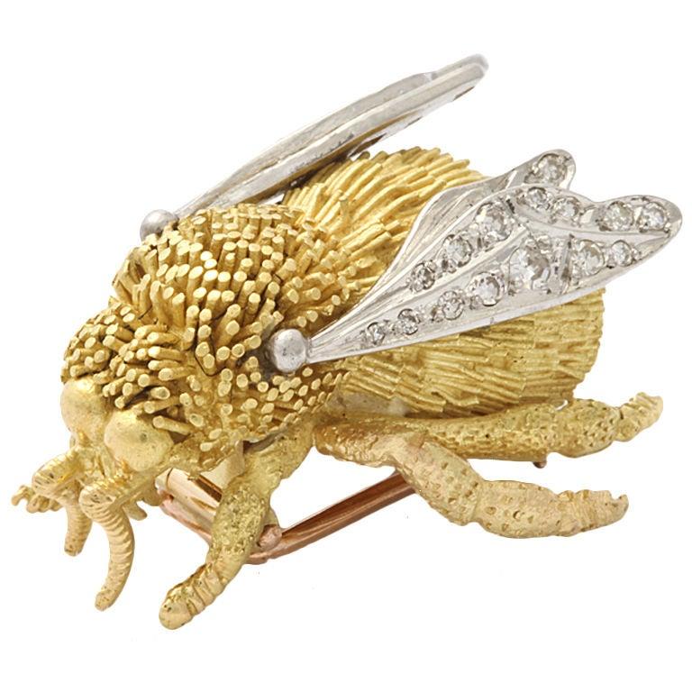 Tiffany France Gold And Diamond Bee Pin At 1stdibs