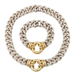 Hermes-Paris Gold and Silver Necklace and Bracelet