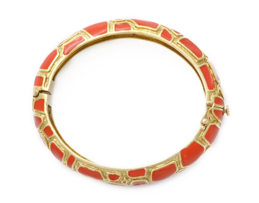 Cartier Coral Enamel Gold Bangle 2