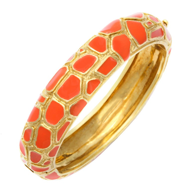 Cartier Coral Enamel Gold Bangle 1