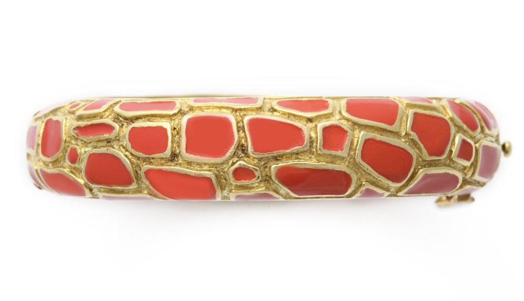 Cartier Coral Enamel Gold Bangle 3