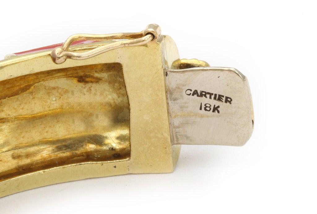 Cartier Coral Enamel Gold Bangle 4