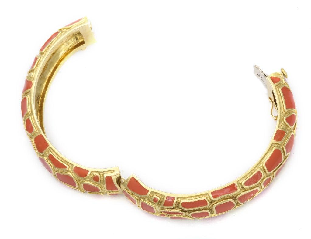 Cartier Coral Enamel Gold Bangle 5