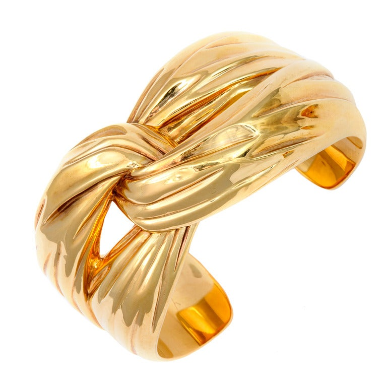 Yves Saint Laurent Paris Gold Cuff Bracelet