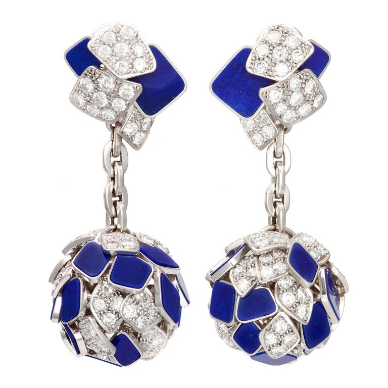 Carved Lapis Diamond Gold Earrings For Sale
