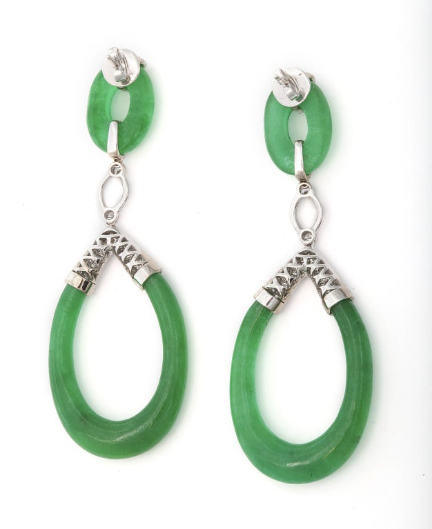 Carved Jade and Diamond Earrings 2