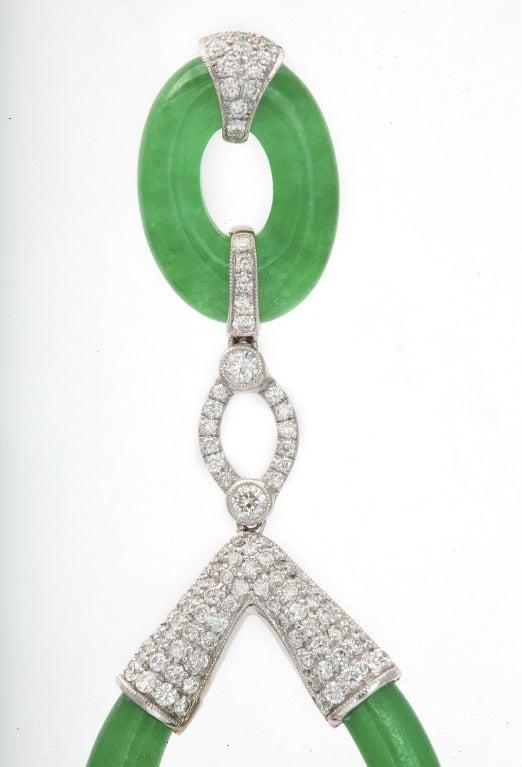 Carved Jade and Diamond Earrings 3