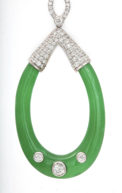 Carved Jade and Diamond Earrings 4