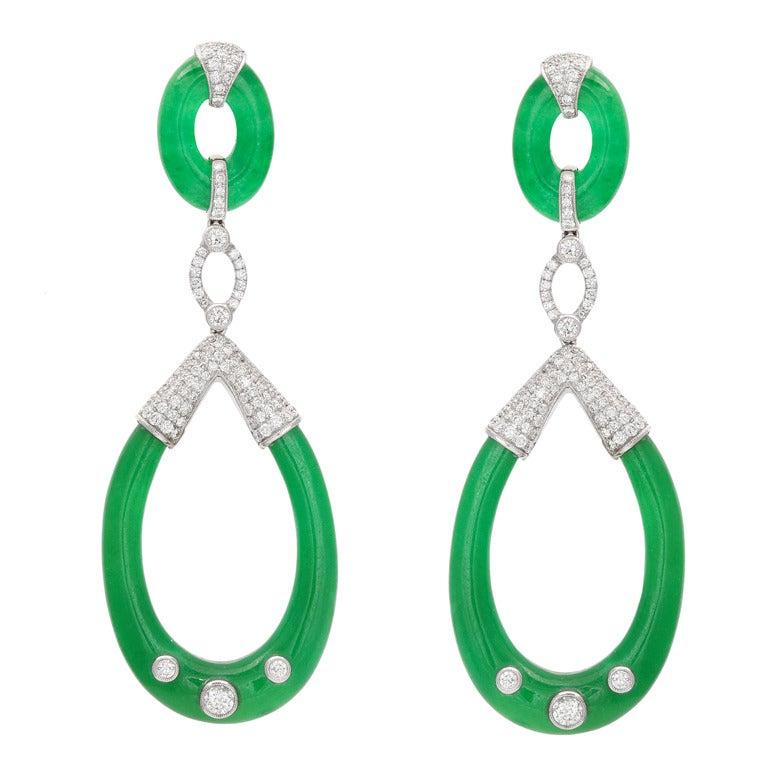 Carved Jade and Diamond Earrings 1