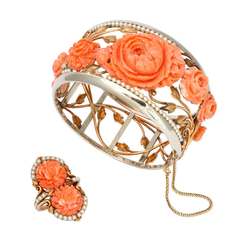 1930s Carved Coral and Pearl Gold Bracelet and Ring. For Sale