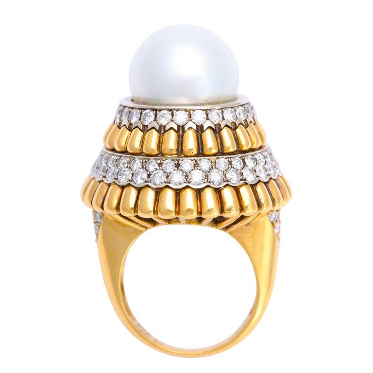 1960s Van Cleef & Arpels Pearl and Diamond Ring