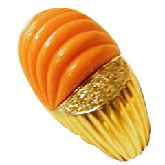 Large Fluted Carved Coral Diamond Ring
