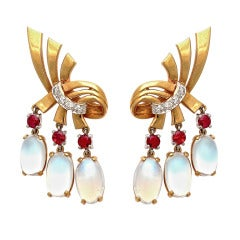 1940s Raymond Yard Moonstone Ruby Gold Ear Clips
