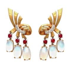 1940s Raymond Yard Moonstone Ruby Gold Ear Clips