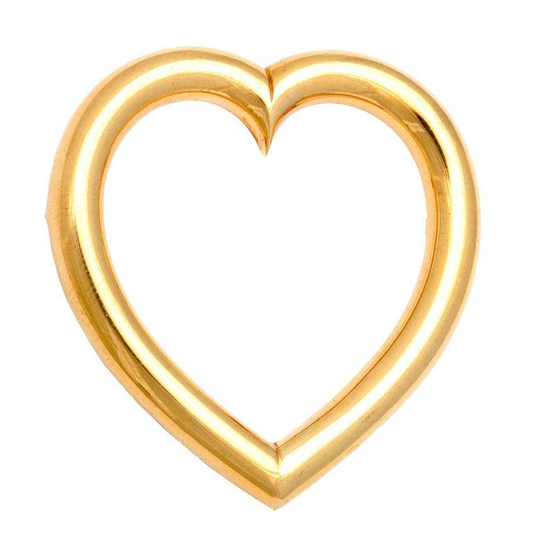 1940s Sloan & Co. Retro Gold Heart Brooch