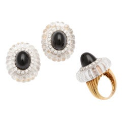 1973 Cartier Rock Crystal Black Jade Diamond Earclips and Ring