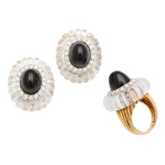 1973 Cartier Rock Crystal Black Jade Diamond Ear Clips and Ring