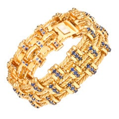 1960s Tiffany Sapphire and Gold Rope Bracelet