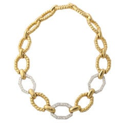 DAVID WEBB Diamond 18KT Gold Rope Link Necklace