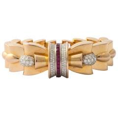 1940's Retro Bow Bracelet !8KT Gold Rubies Diamonds