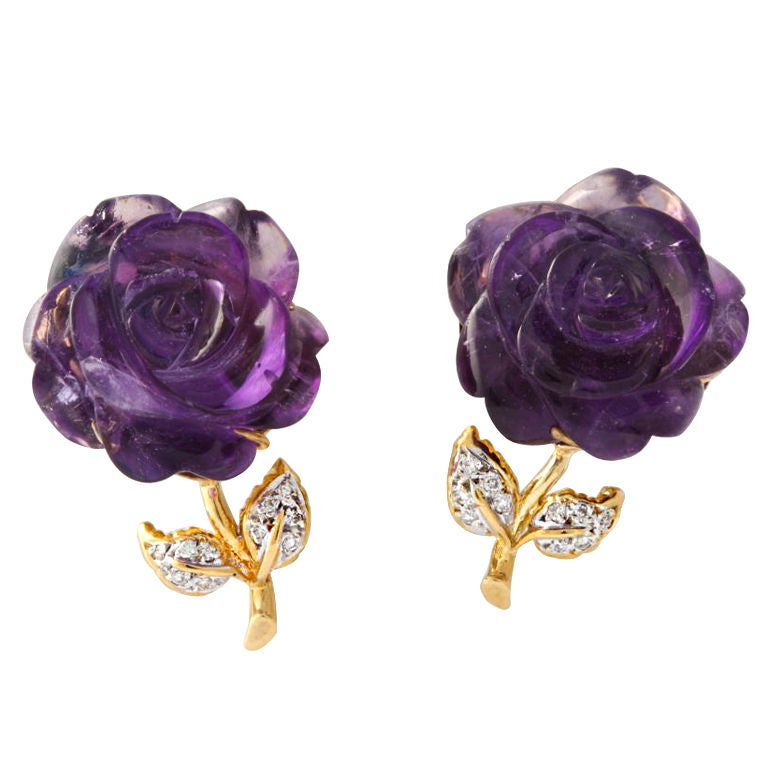 Carved Amethyst and Diamond Ear Clips 1