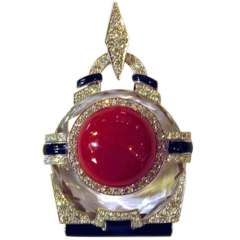 David webb rock crystal coral diamond pendant at 1stdibs for Same day jewelry repair