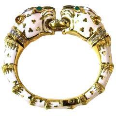 DAVID WEBB Original White Tiger Bracelet Diamonds and Emeralds