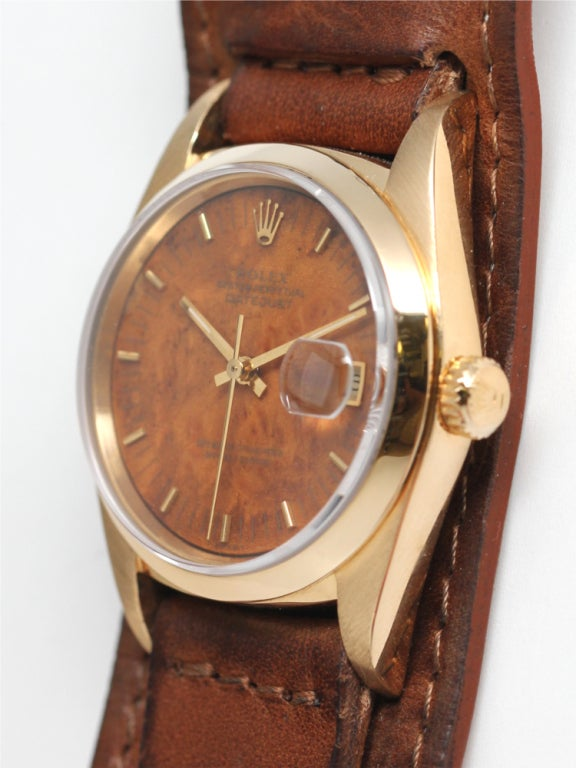 Rolex Yellow Gold Datejust Wristwatch with Wood Dial ref ...