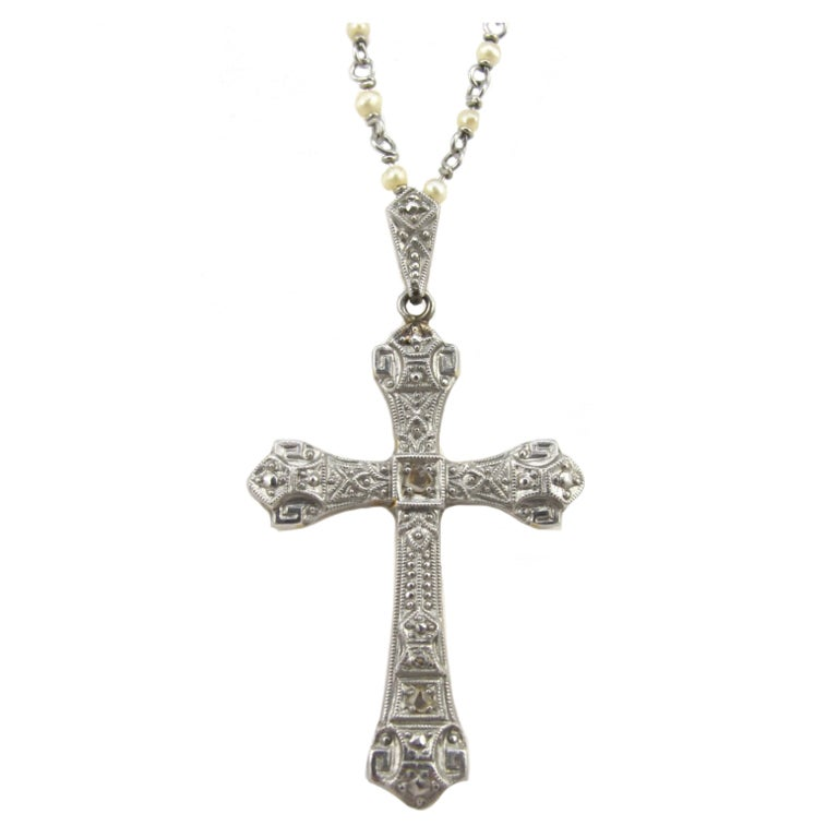 1890s platinum cross on platinum and pearl chain necklace