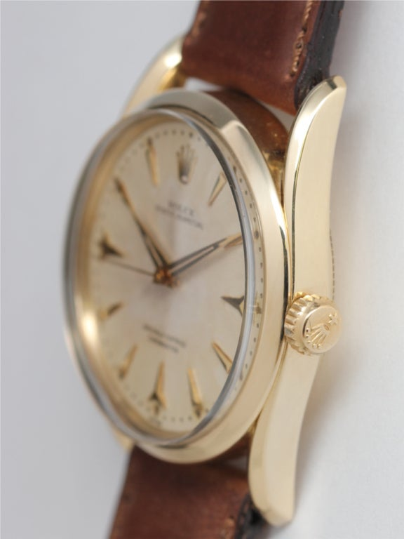 ROLEX Yellow Gold Oyster Perpetual Bombé Wristwatch circa 1960 image 2