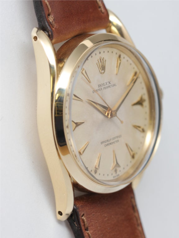 ROLEX Yellow Gold Oyster Perpetual Bombé Wristwatch circa 1960 image 3