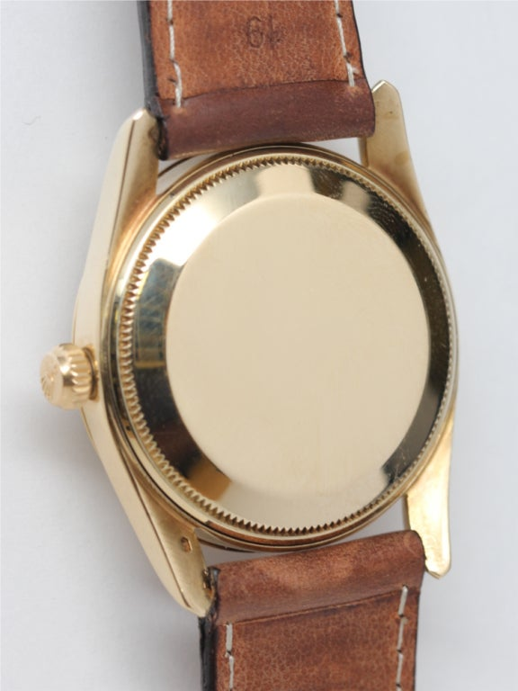 ROLEX Yellow Gold Oyster Perpetual Bombé Wristwatch circa 1960 image 4